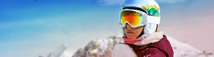 Girl With Snowboard and Goggles